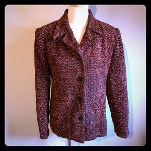 Liz Baker faux knit jacket. Maroon size 14.